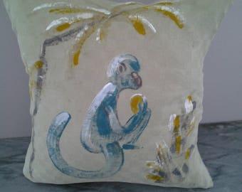 Vintage linen damask pillow, handpainted, 30 x 30 cm