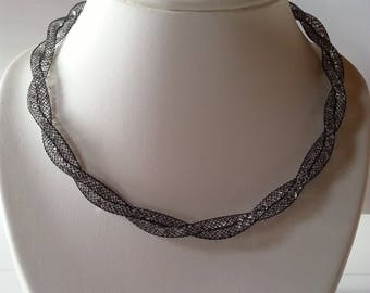 Black and white FishNet tubular wire necklace