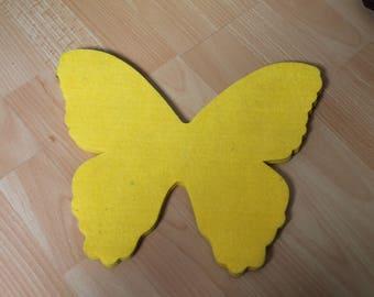 Butterfly shape decoration in yellow felt