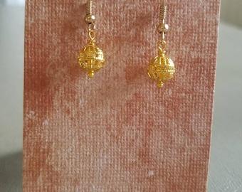 Fancy gold bead drop earring