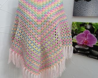 Rainbow wool with salmon fringe poncho