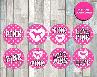 Victorias Secret Pink toppers instant download , Victorias Secret cupcakes toppers labels, Printable Victorias Secret party toppers