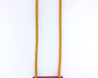 ++ DotKnot + yellow + long necklace in cotton embroidery and acrylic and wood inlay