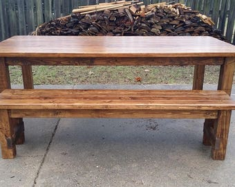 6' Rustic Farm House Dining Table & Bench