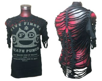 5FDP Five Finger Death Punch Shirt Upcycled Clothing Fashion