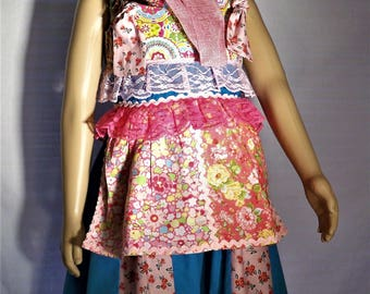 Colorful long aproned flower dress