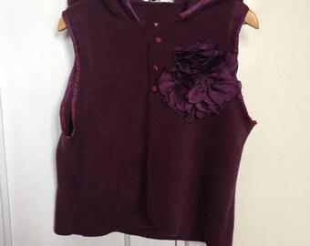 Purple fleece vest without sleeves and hood