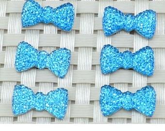 Cabochon bow rhinestone turquoise (x 4)
