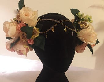Beautiful floral goddess headpiece in Rose Gold