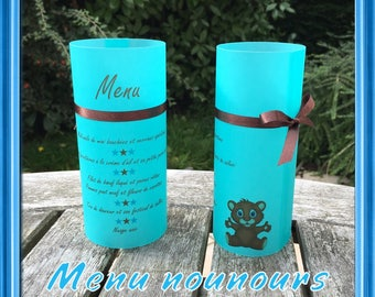 Teddy bear Brown and turquoise candle menu