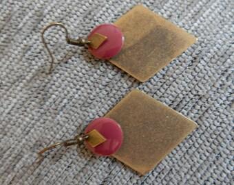 bronze double diamond long earrings with small raspberry sequin