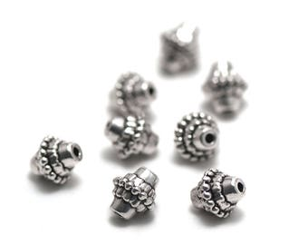 "Has 10 ""Tibetan bicone"" beads, 10 x 9 mm, silver, 070"