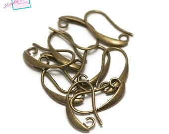 "10 hooks for ""curved"" earring, bronze"