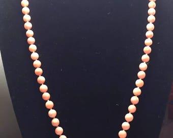 Vintage Angel skin coral flower hand carved necklace