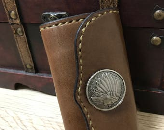 Brown leather key case