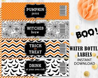 Halloween bottle labels Orange black Water bottle labels Trick or Treat labels Spider web bats labels