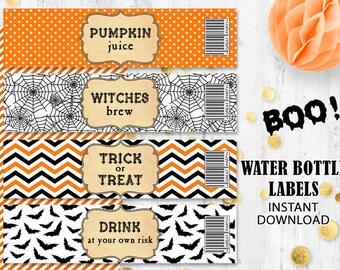 Halloween labels Orange black Water bottle labels Trick or Treat labels Spider web bats labels