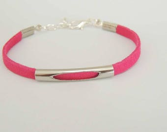 Suede strap suede colours fuchsia, open metal tube bead