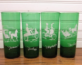 Anchor Hocking green drinking tumblers