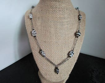 Black & White Glass Beaded Necklace