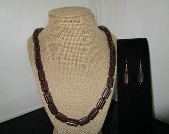 Brown Wooden Beaded  Necklace & Earrings Set.