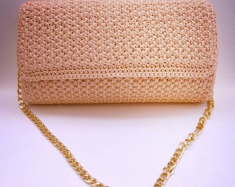 Peachy pink crochet bag