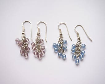 Earrings silver round beads