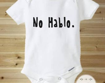 Funny Baby Onesies, Funny Onesies, Hipster Baby Clothes, No Hablo, Cute Baby Onesie, Baby Boy Gift, Baby Girl Gift, New Baby Gift, Cute Baby