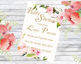 Personalised floral Baby Shower Invitations (pack of 10)