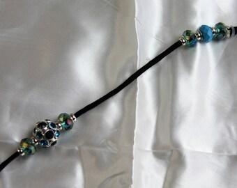 Custom Made Dog Show leash with black and Blue Beads