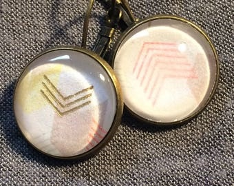 Earrings cabochon * round * arrows opposite
