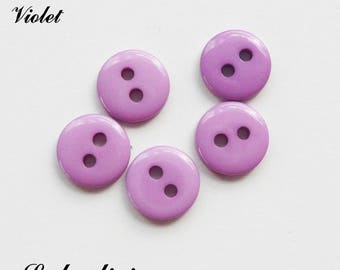 Set of 5 buttons round 9 mm 2-hole: Violet