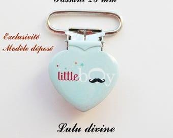 1 clip pacifier blue mustache Little boy from 25 mm, heart
