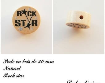 Wooden bead of 20 mm, flat bead, Rock star: natural