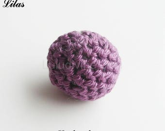 Bead crochet Ø 25 mm, round Pearl: lilac