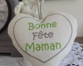 "heart mother's day.""embroidered in ecru taupe and green"