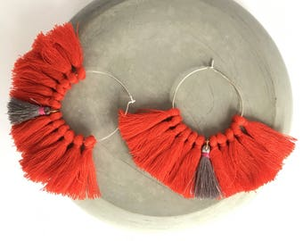 Elegant hoops & PomPoms red and silver! Large earrings, tassel pom pom pom pom earrings fancy Bohemian