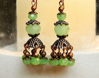 Glass beads and antique copper earrings