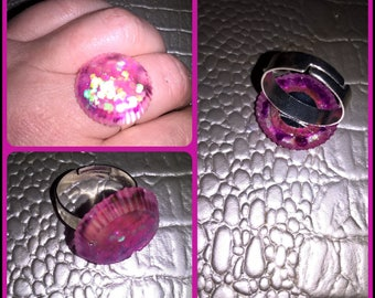 Adjustable ring shaped tart pink translucent resin