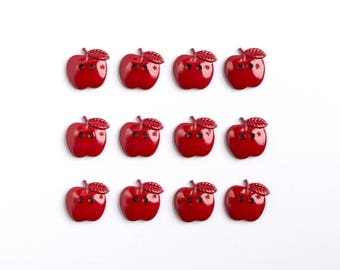 Red apples decorative buttons - buttons sewing button decor Apple shaped - set of 12 decorative buttons sewing apples-apples