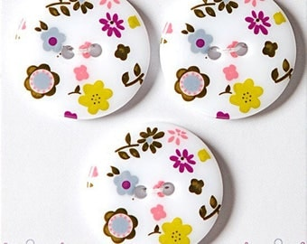 Lot 3 buttons style liberty multicolor 25 mm - sewing button white flower multicolor - button flower on white background