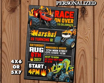 Blaze and the Monster Machines,Blaze and the Monster Machines Invitation,Blaze and the Monster Machines Birthday,Monster Truck Invite