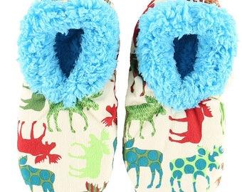 Adult Fuzzy Feet Slippers Fuzzy Feet Pajamas Slippers Patterned Moose Adult Slippers Moose Adult Fuzzy Feet Slippers