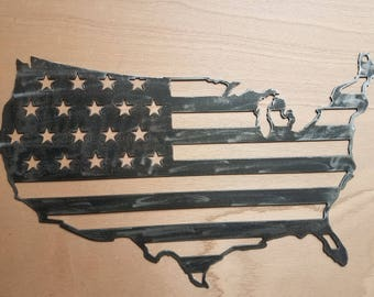 Usa, American flag Wall metal art, cleaned metal, rustic. Clearcoated.