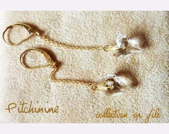Earrings gold filled 14 k & swarovski heart crystals