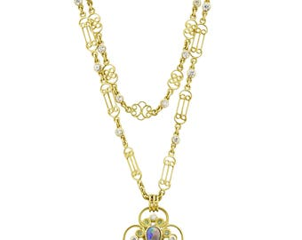 Vintage Tiffany Opal 18k Necklace by Louis Comfort Tiffany