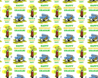 Personalised Golf Birthday Gift Wrap With Own Name
