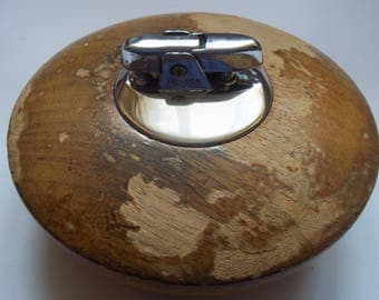 Vintage RONSON Petrol Table Lighter, Wood Base, Made in 1960s