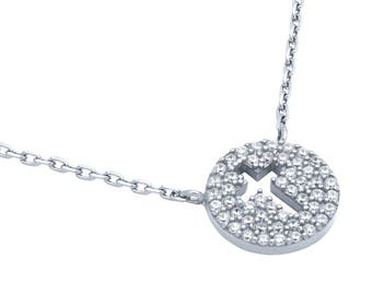 """Rhodium plated cz pave disk necklace with cutout cross 16"""" + 2"""""""
