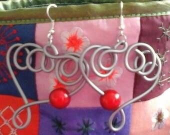 Earrings heart you in 2mm aluminum wire
